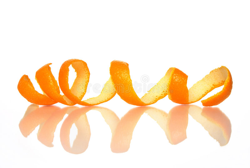 Spiral orange peel with reflection stock photo