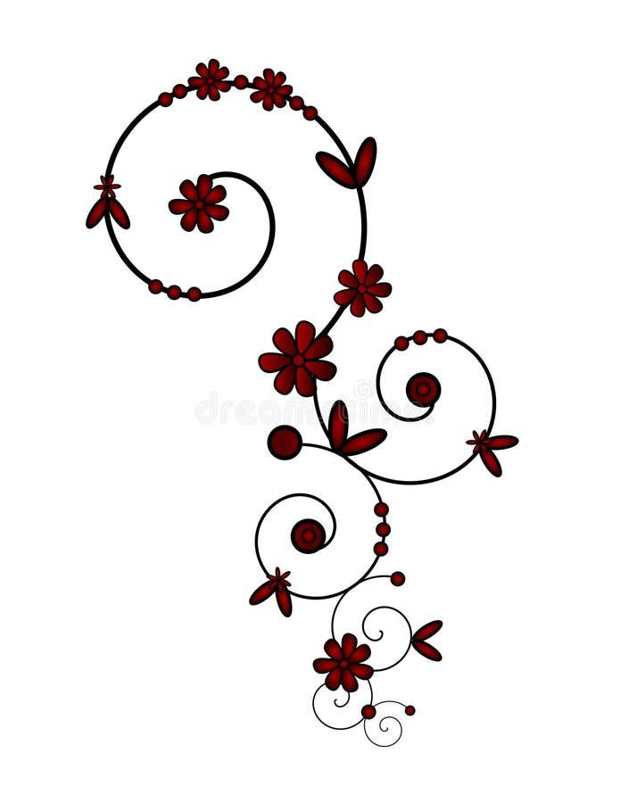 Spiral ornament in red vector illustration
