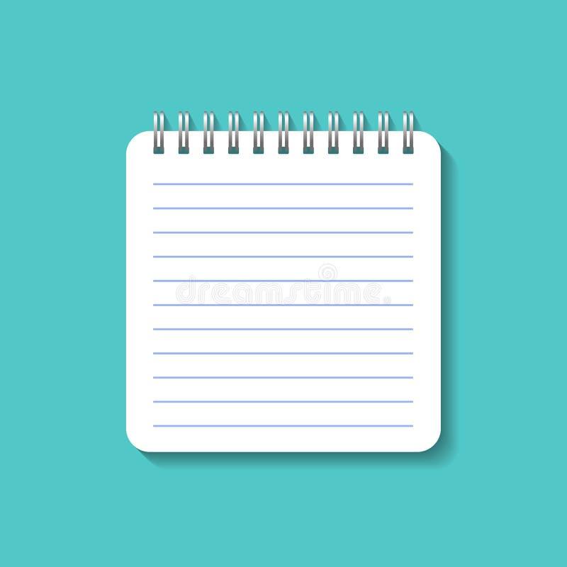 Spiral pappers- anteckningsbok i modellstil Vektornotepad för skola Vit dagbokanteckningsbok på blå bakgrund ocks? vektor f?r cor royaltyfri illustrationer