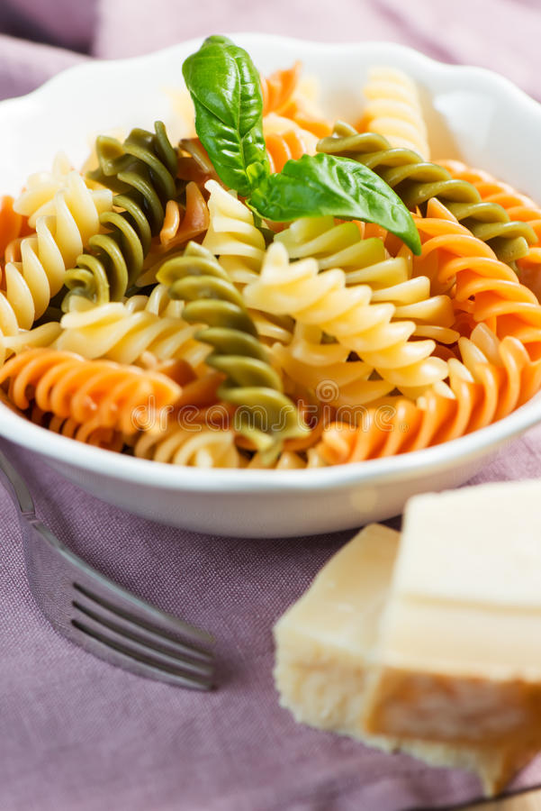 Download Spiral Pasta With Cheese And Basil On Table Stock Image - Image: 28810799