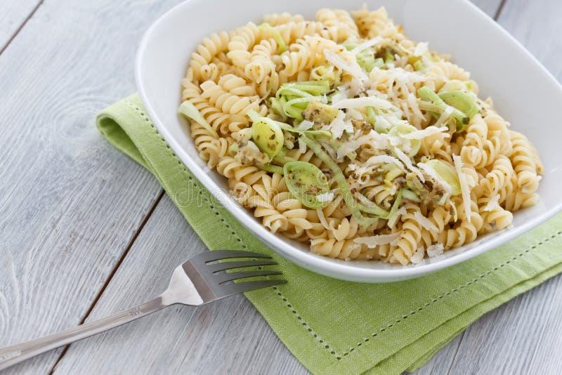 Download Spiral Pasta with Leek stock image. Image of food, spiral - 21468849