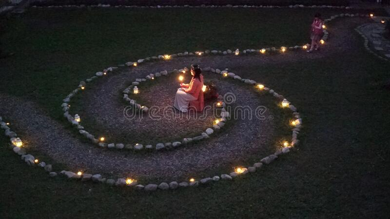 Spiral Path Lit With Lanterns Free Public Domain Cc0 Image
