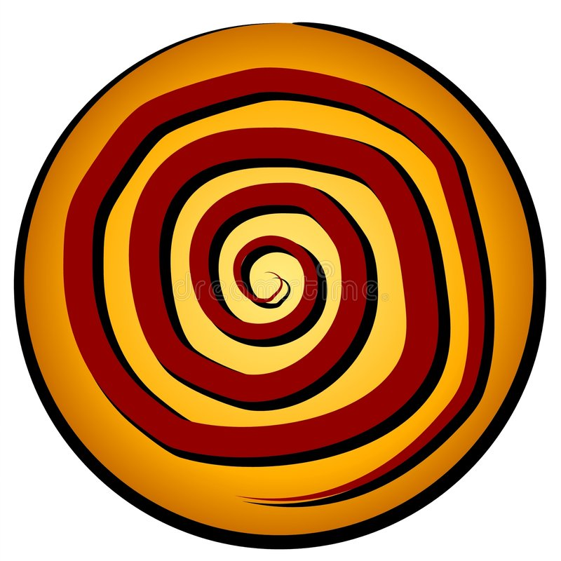 Spiral Pattern In Circle Icon. A red spiral on a gold circle icon. The spiral is actually a powerful ancient symbol which is likely why it's so popular stock illustration