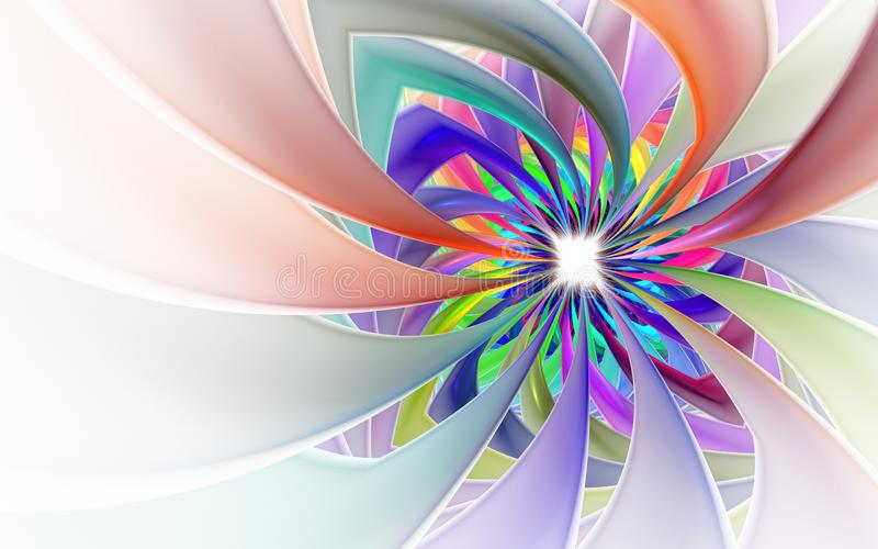 Spiral Petal Fireworks computer-generated image. Abstract fractal of Beautiful flower of ribbons. Background for wallpaper, album, poster, booklet. Digital royalty free illustration