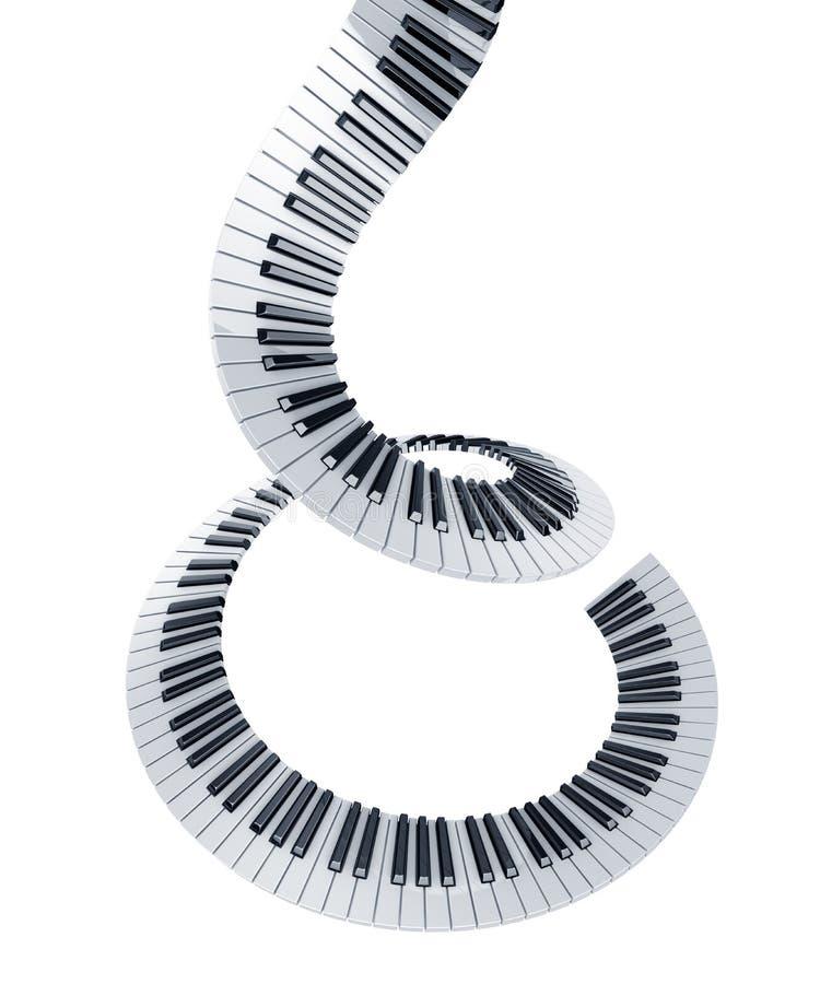 Spiral piano keys. 3d rendering of piano keys in a spiral vector illustration