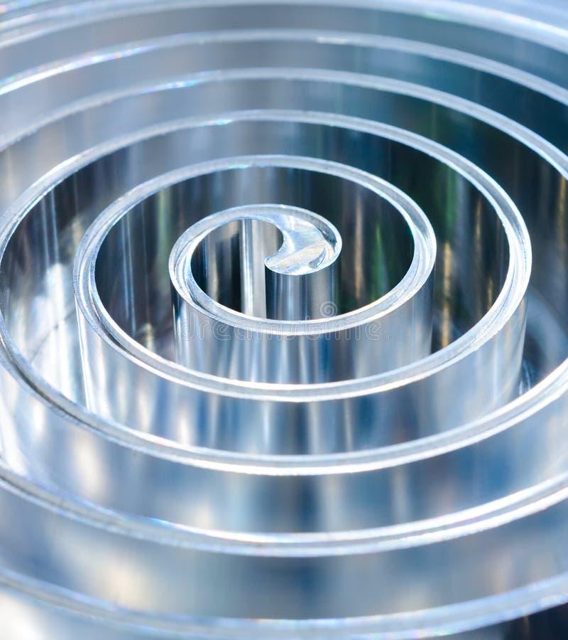 Spiral polerad metall för metall grunt djupfält royaltyfria foton