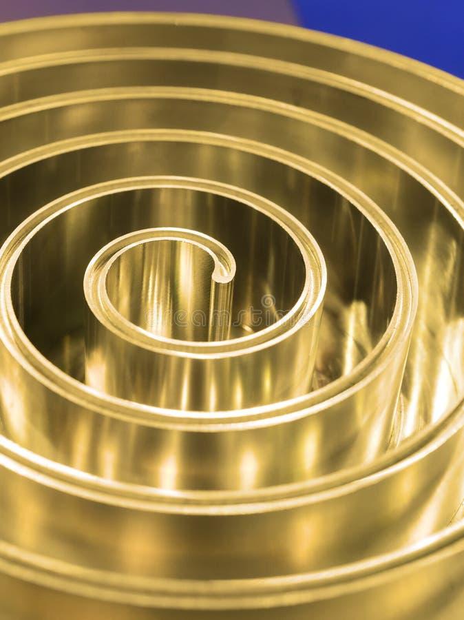 Spiral polerad metall för metall grunt djupfält arkivbild