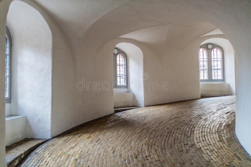 Spiral ramp of the Round tower in Copenhagen, Denma stock images