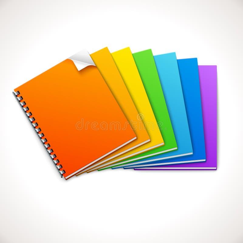 Spiral Ring Notebooks Rainbow vektor illustrationer