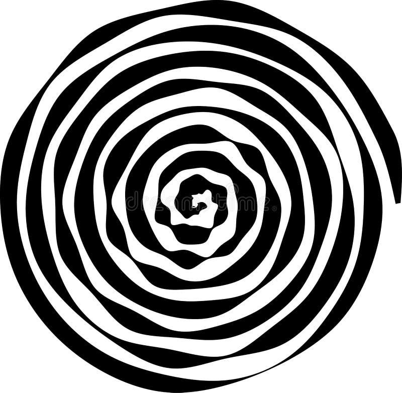 Spiral rund form Beståndsdelen av designen som skapar abstrakta orienteringar, räkningar, tryck på papper, tyg, sjal också vektor stock illustrationer