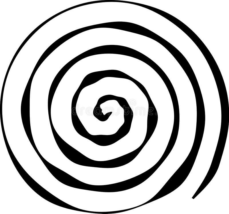 Spiral rund form Beståndsdelen av designen som skapar abstrakta orienteringar, räkningar, tryck på papper, tyg, sjal också vektor royaltyfri illustrationer
