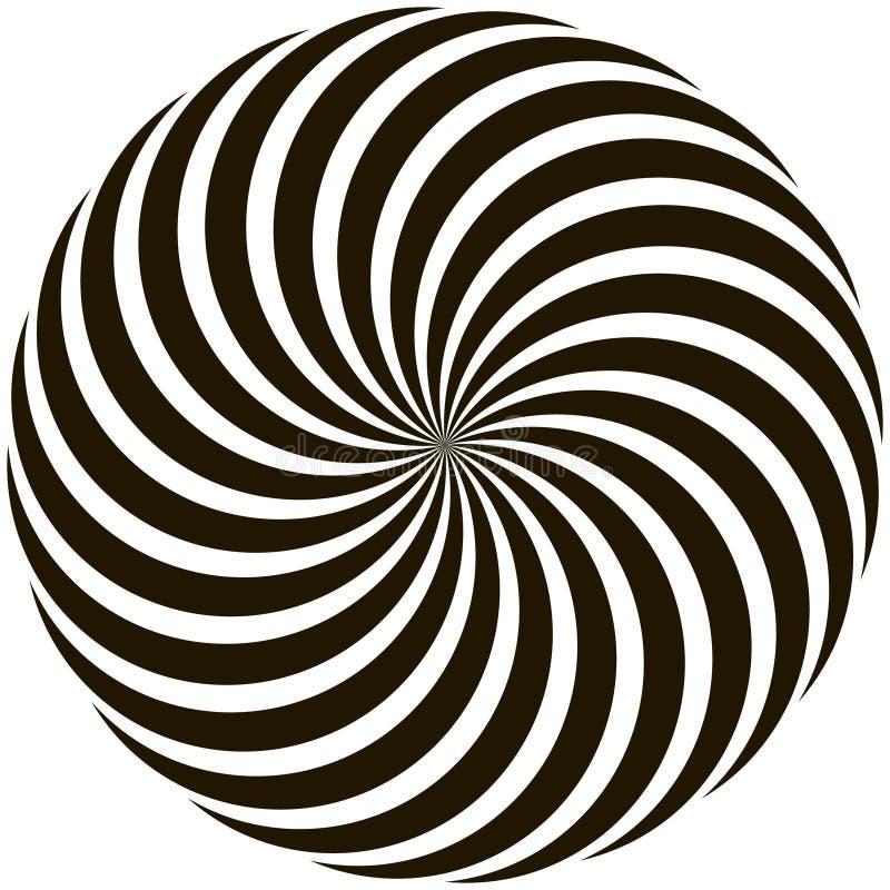 Spiral rund vridna strålar för modell klubba stock illustrationer