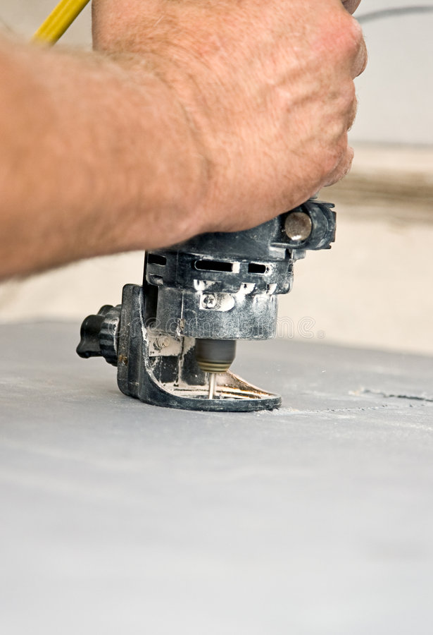 Download Spiral Saw Cuts Drywall Closeup Stock Image - Image of working, installing: 6417285