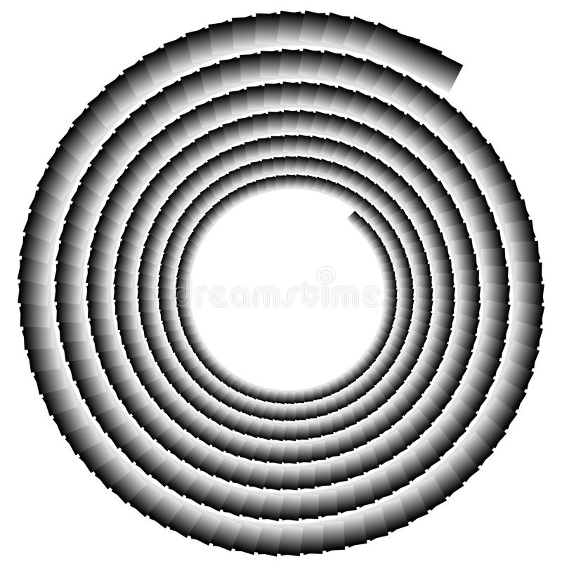 Spiral shape made of overlapping rectangles. Abstract monochrome royalty free illustration