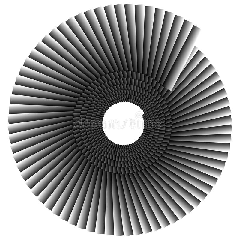 Spiral shape made of overlapping rectangles. Abstract monochrome stock illustration