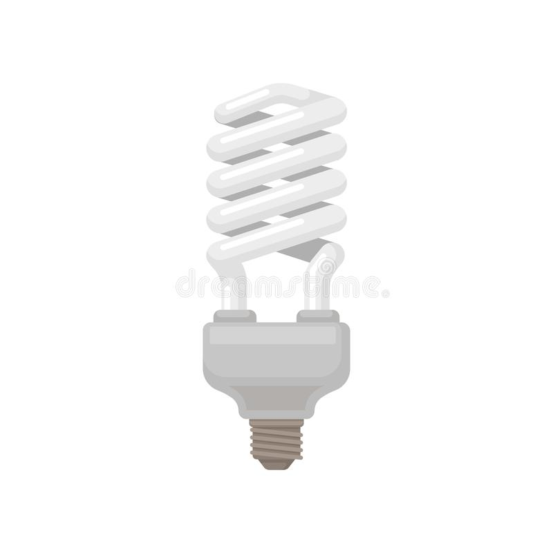 Spiral-shaped compact fluorescent lamp. Energy-saving light bulb. Flat vector element for infographic, promo poster or stock illustration