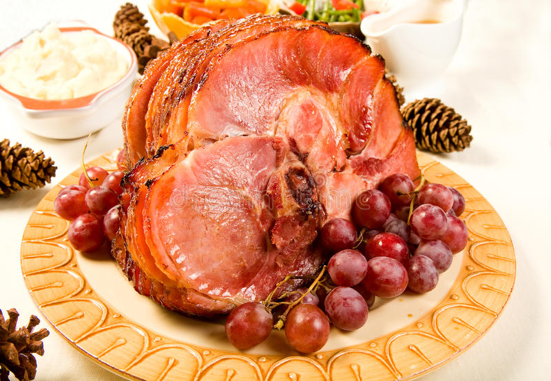 Spiral Sliced Ham royalty free stock photography