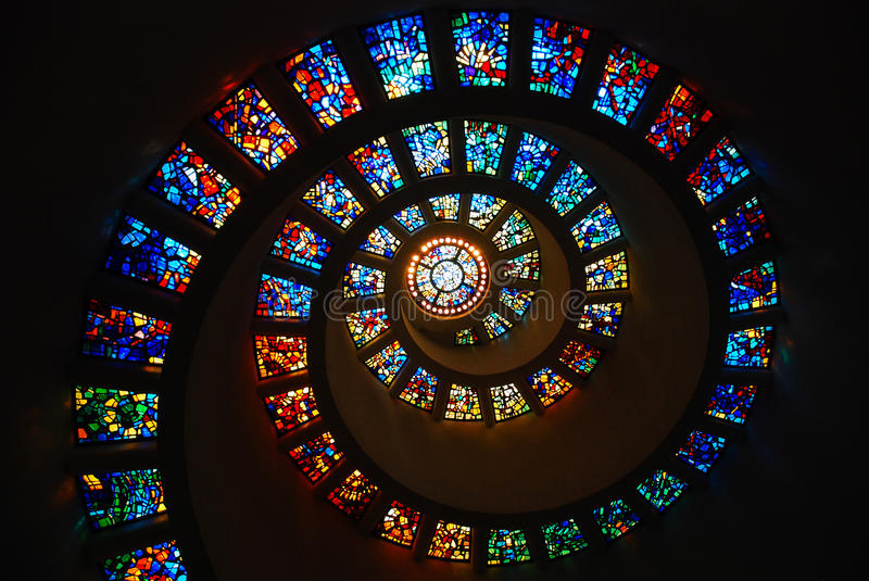 Download Spiral Stained Glass stock photo. Image of attraction - 90998046