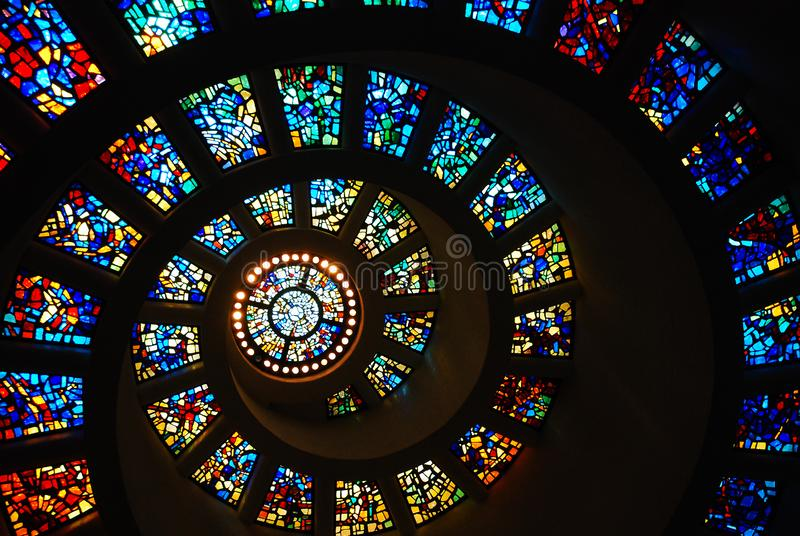 Spiral Stained Glass of the Thanksgiving Chapel, Dallas stock photo