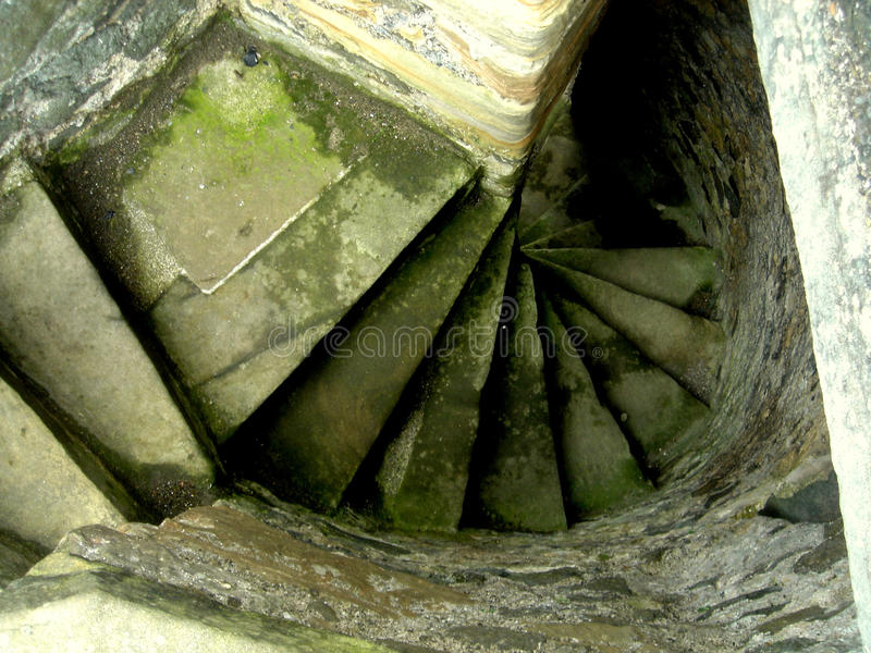 Spiral staircase. Blackness Castle is a 15th century fortress, near the village of Blackness, Scotland, on the south shore of the Firth of Forth. It was built stock image