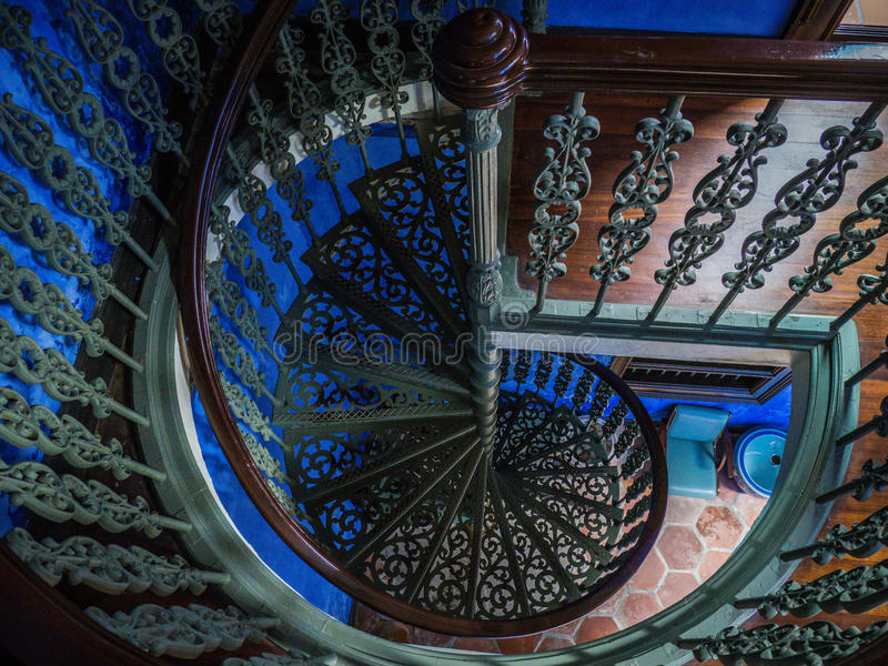Spiral Staircase in Chinese Mansion stock photo