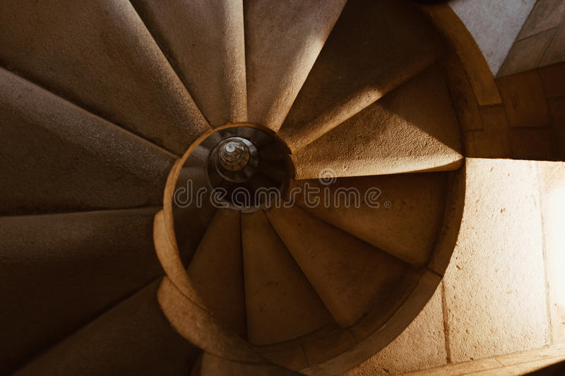 Spiral staircase - the detail of the interior of Sagrada Familia in Barcelona, Spain royalty free stock photo