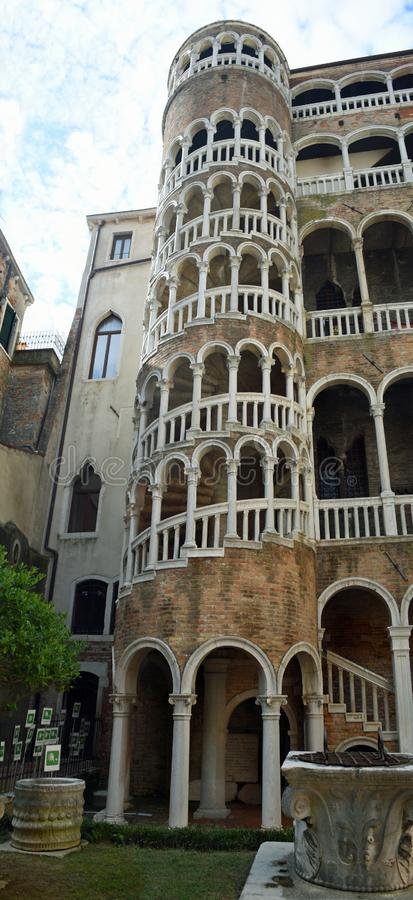Spiral staircase known as the Scala Contarini del Bovolo. royalty free stock photography