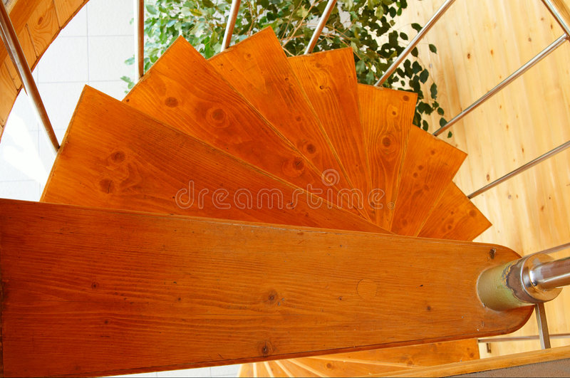 Download Spiral Staircase In  The Modern  Wooden House. Stock Image - Image: 9217947