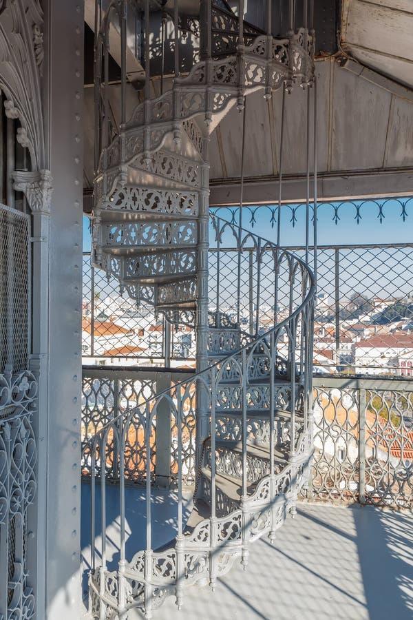 Spiral staircase. Santa Justa Lift. Lisbon. Portugal stock images