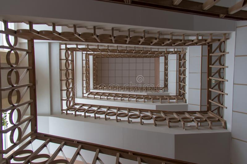Spiral staircase with simple railings stock image