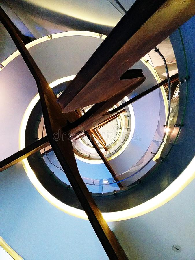 Spiral staircase with steel structure stock photography