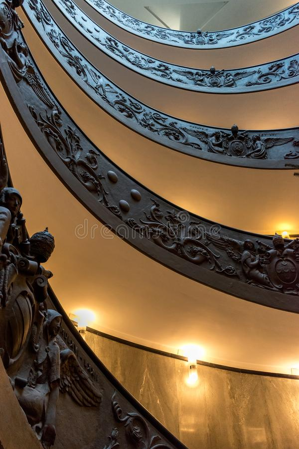 Rome, Italy. December 04, 2017: Spiral staircase royalty free stock photo