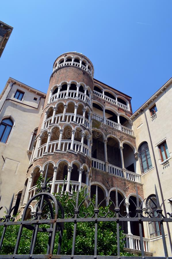 Spiral staircase in Venice. External spiral staircase, with a plethora of arches out of the gothic Palazzo Contarini del Bovolo (15th century) located in a less royalty free stock photos