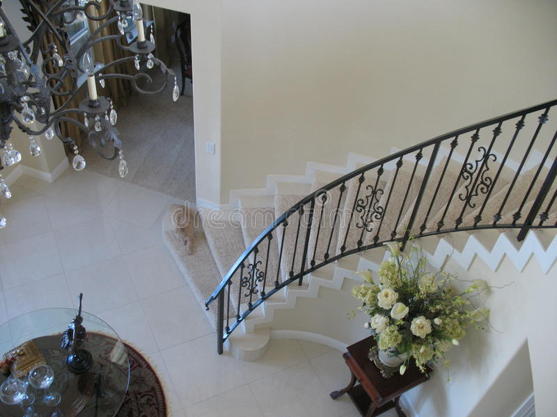 Download Spiral Staircase With Wrought Iron Banister. Stock Photo   Image:  56086620
