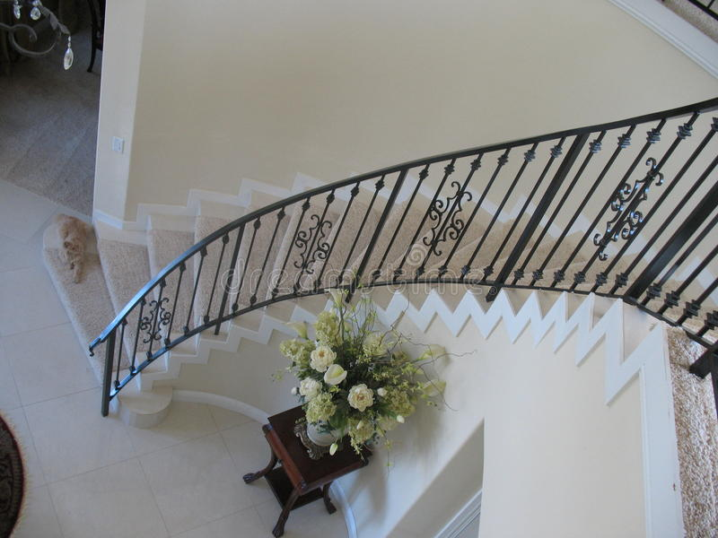 Download Spiral Staircase With Wrought Iron Banister Stock Photo   Image:  56086724