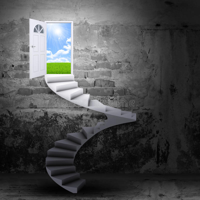 Spiral stairs and magic doors royalty free illustration
