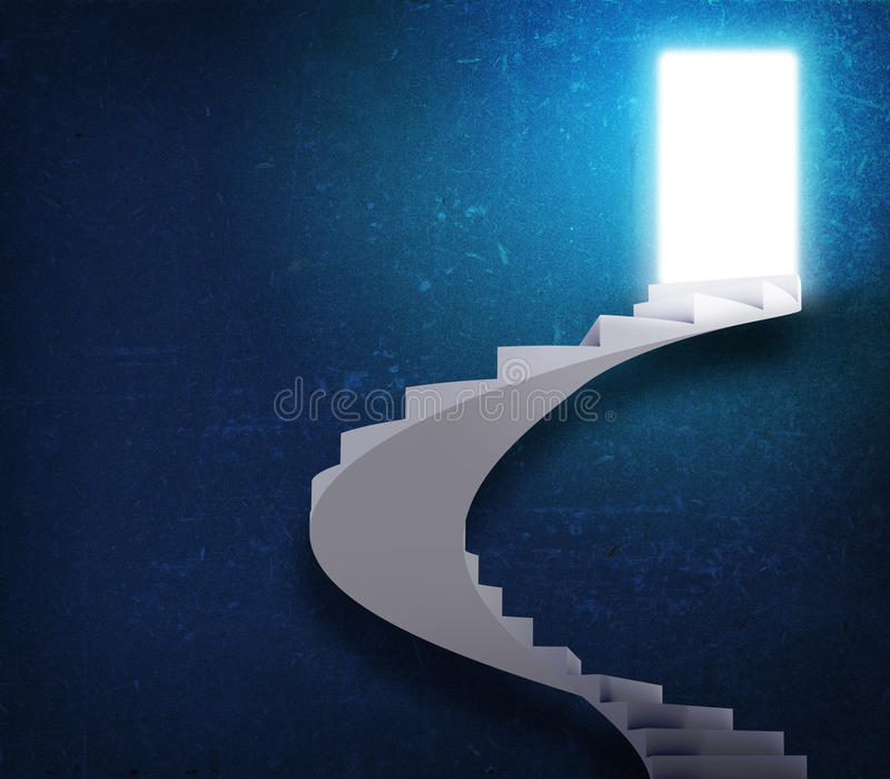 Spiral stairs and magic doors vector illustration