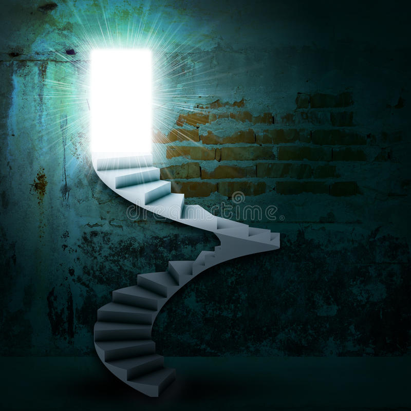 Spiral stairs and magic doors stock illustration