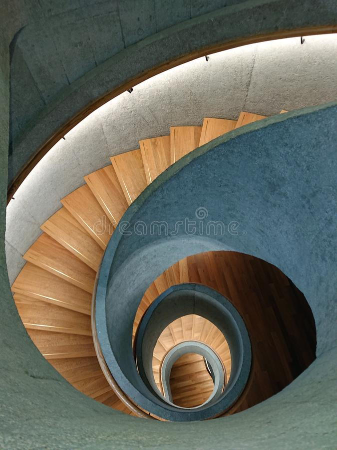 Spiral Stairs. Spiral shaped Stairs in Tai Kwun Museum Hong Kong China royalty free stock images