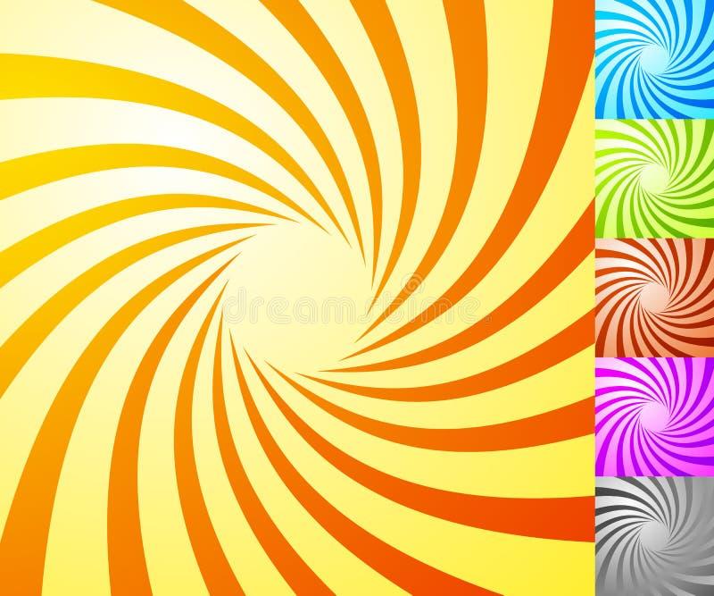 Spiral starburst, sunburst background set. Lines, stripes with t. Wirl, rotating distortion effect. 5 colors. - Royalty free vector illustration royalty free illustration