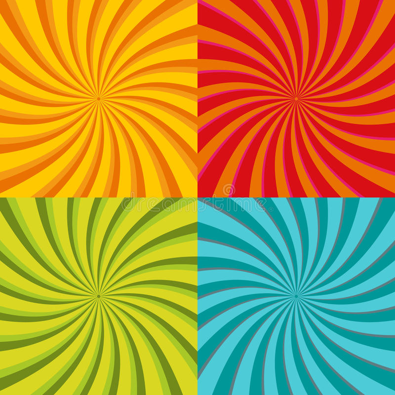 Spiral starburst, sunburst background set. Lines, stripes with twirl, rotating distortion effect. Red, yellow, green and vector illustration