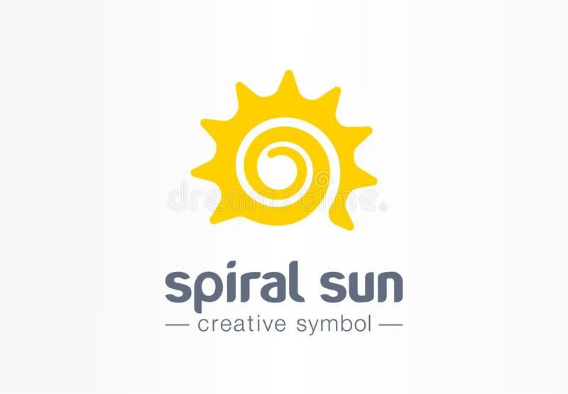 Spiral sun creative symbol concept. Summer morning energy light abstract business logo. Hot sunshine weather, travel. Circle sunrise or sunset icon. Corporate stock illustration