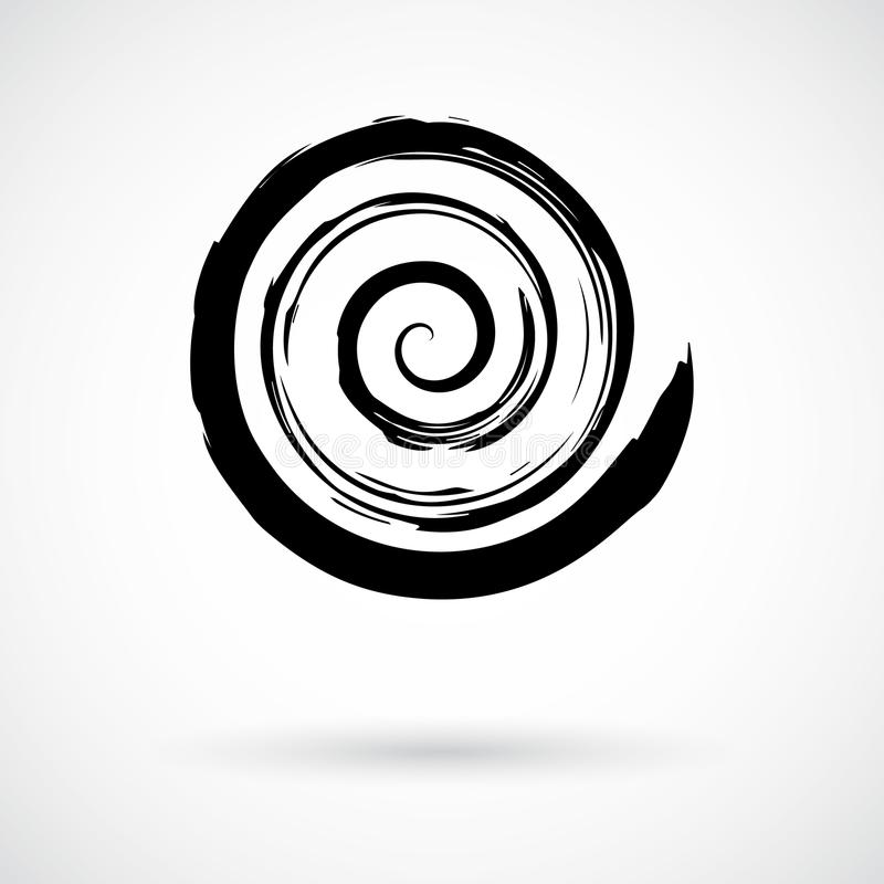 Spiral Swirl Symbol Hand Painted With Ink Brush Stock Vector ...