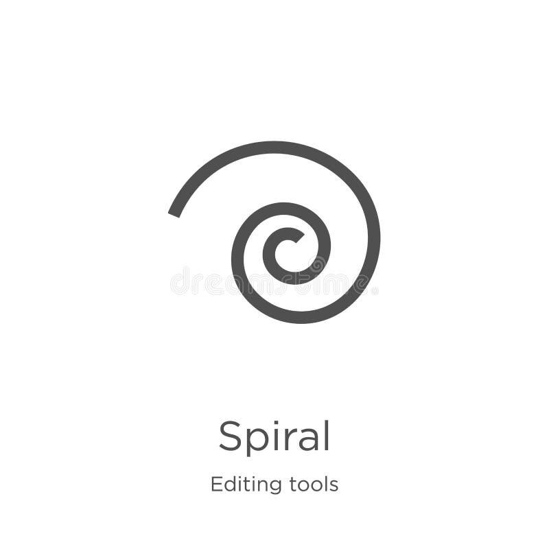 spiral symbolsvektor från att redigera hjälpmedelsamlingen Tunn linje spiral illustration för översiktssymbolsvektor Översikt tun vektor illustrationer