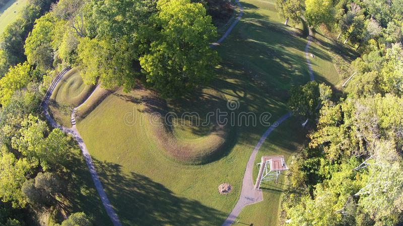 Aerial View of the great Serpent Mound of Ohio - spiral tail at the end. This is the spiral tail at the end of the great Serpent Mound of Ohio, United States royalty free stock photo