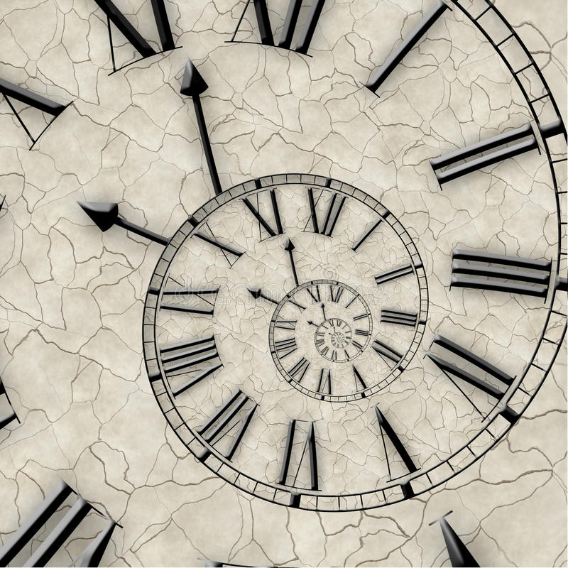 Spiral of time. Twisted watch. stock illustration