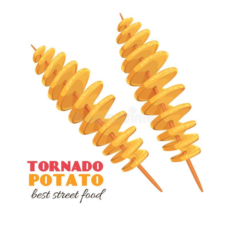 Spiral tornado potato. Twisted spiral chips. Vector tornado potato. Illustration fast food for design street cafe or takeaway food stock illustration
