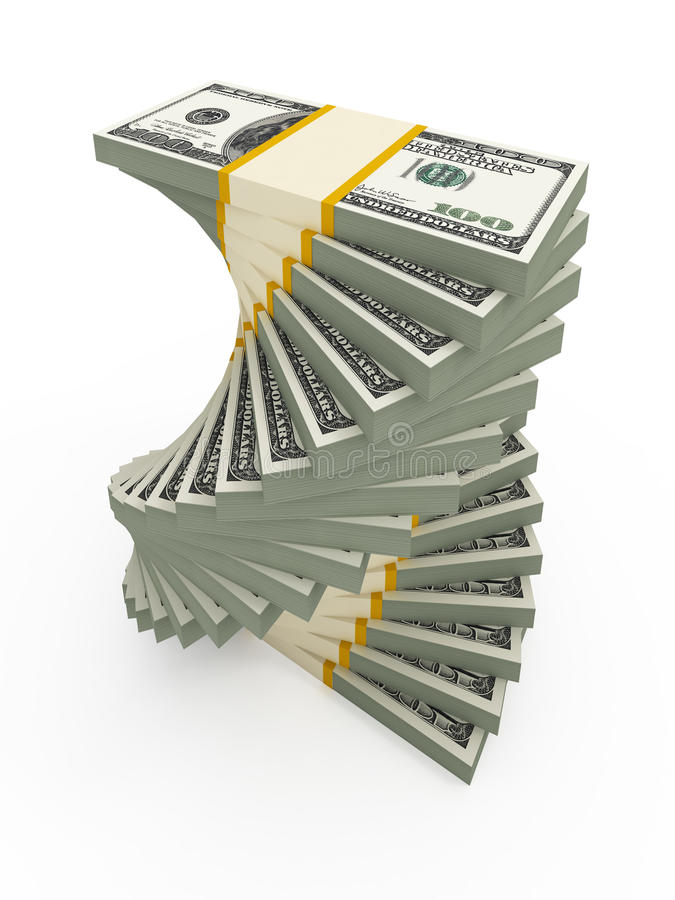 Spiral USD Stack Royalty Free Stock Photo
