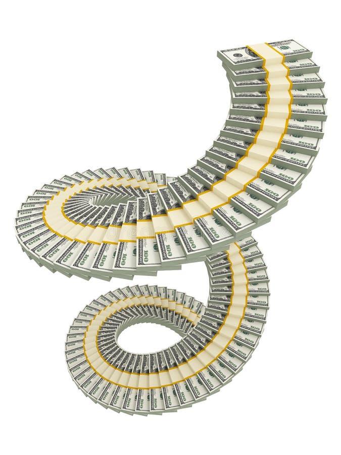 Download Spiral USD stack stock illustration. Image of concept - 16033340