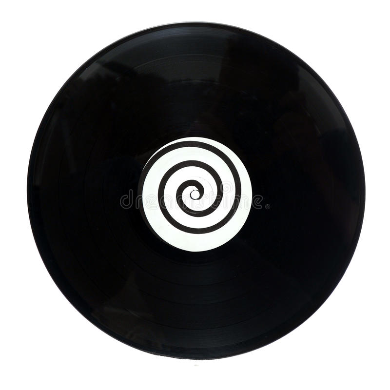 Spiral Vinyl LP Music Record. An isolated round circular vinyl lp music record with a spiral design in the middle stock photo